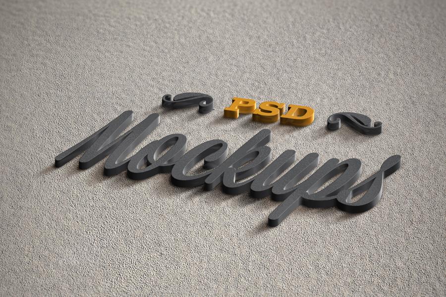 3D logo mockups psd templates 3