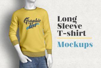 Free long sleeve t-shirt mockup 9