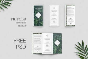 Free trifold brochure mockup 6