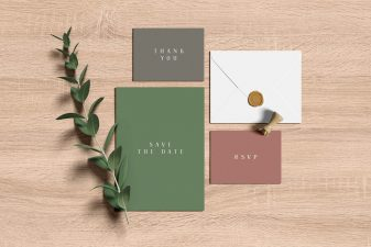 Wedding invitation suite mockup 1