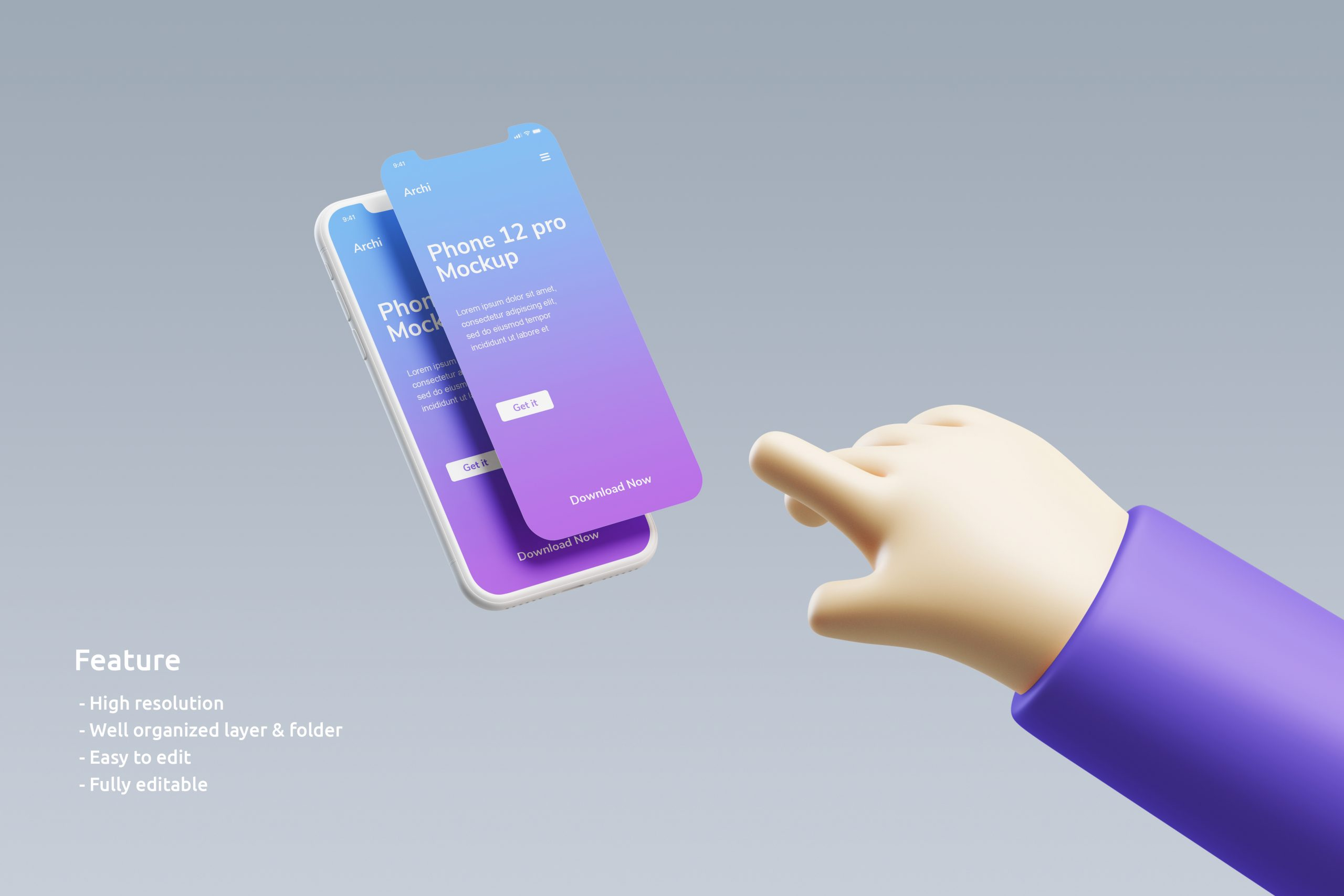 iPhone clay mockup with 3D hand